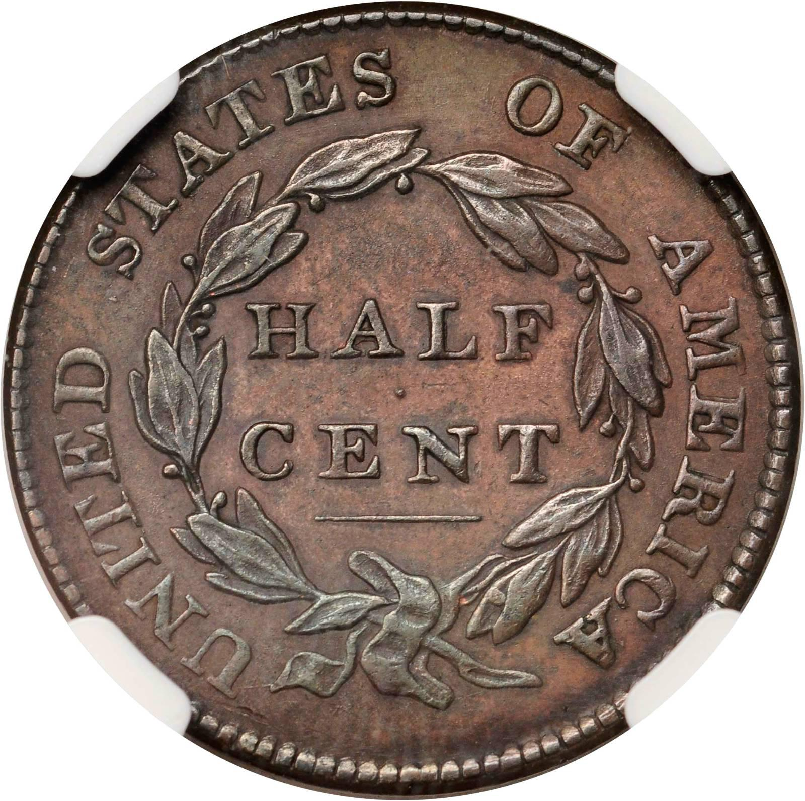1826 half cent coin value
