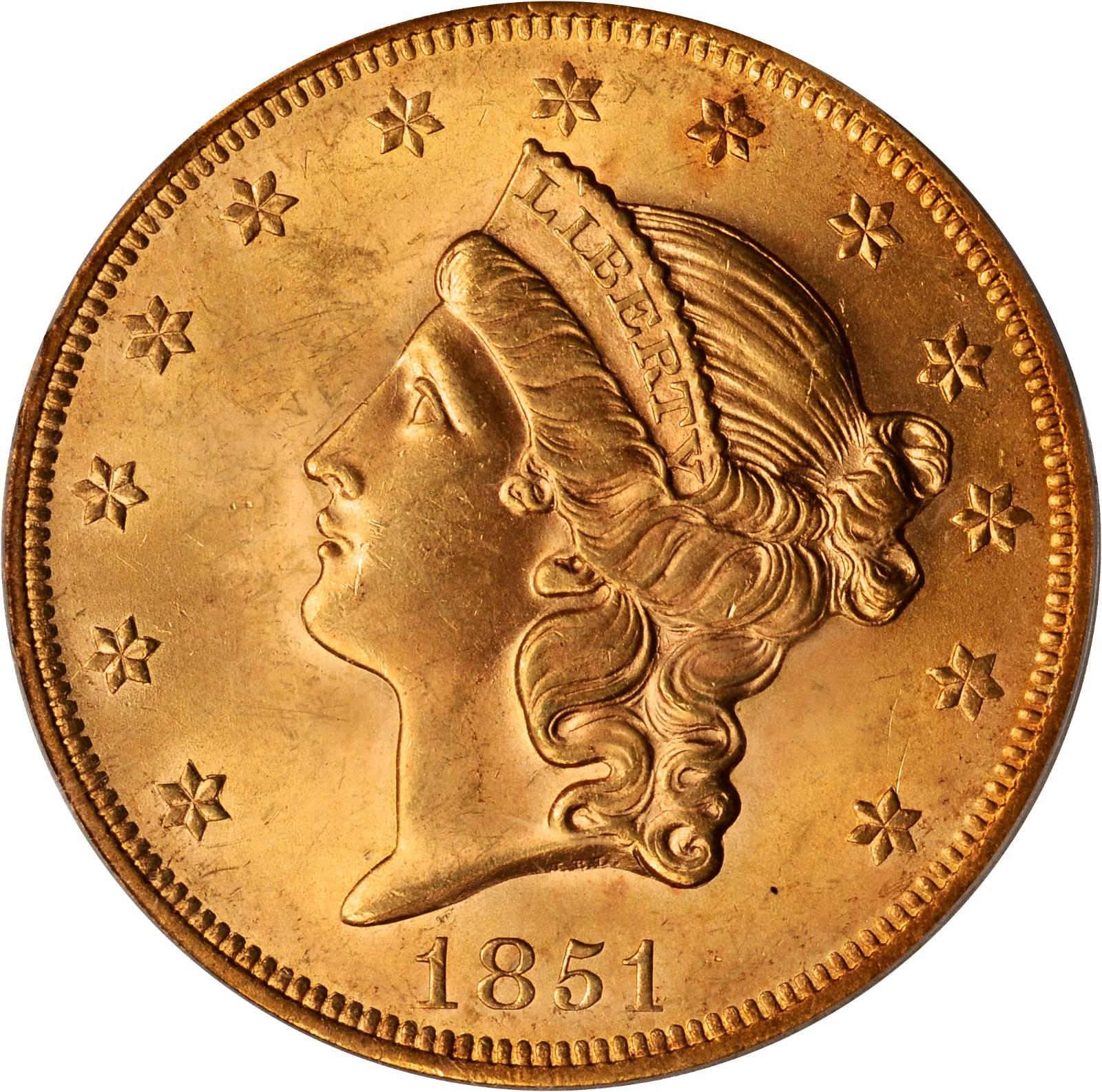 Value Of 1851 20 Liberty Double Eagle Sell Rare Coins