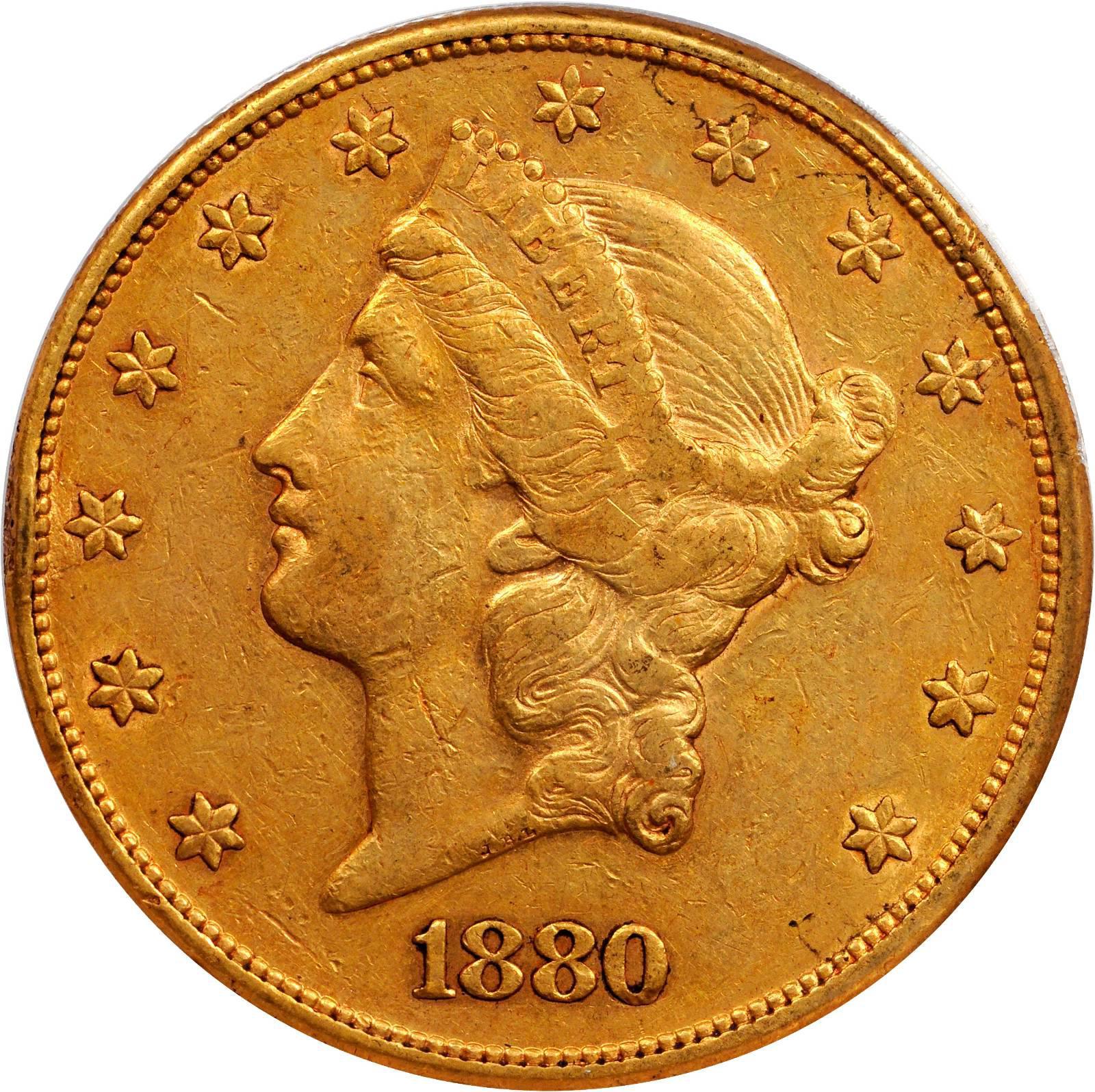 1880 gold 20 dollar coin
