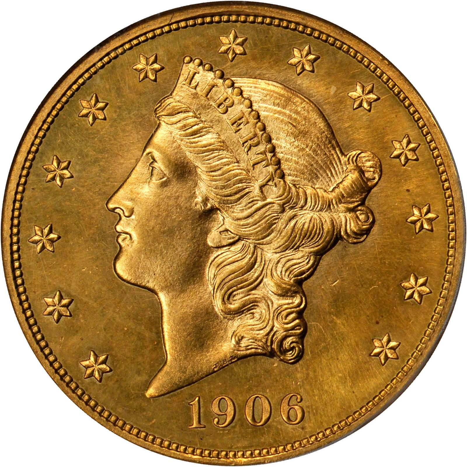 Value of 1906-D $20 Liberty Double Eagle | Sell Rare Coins