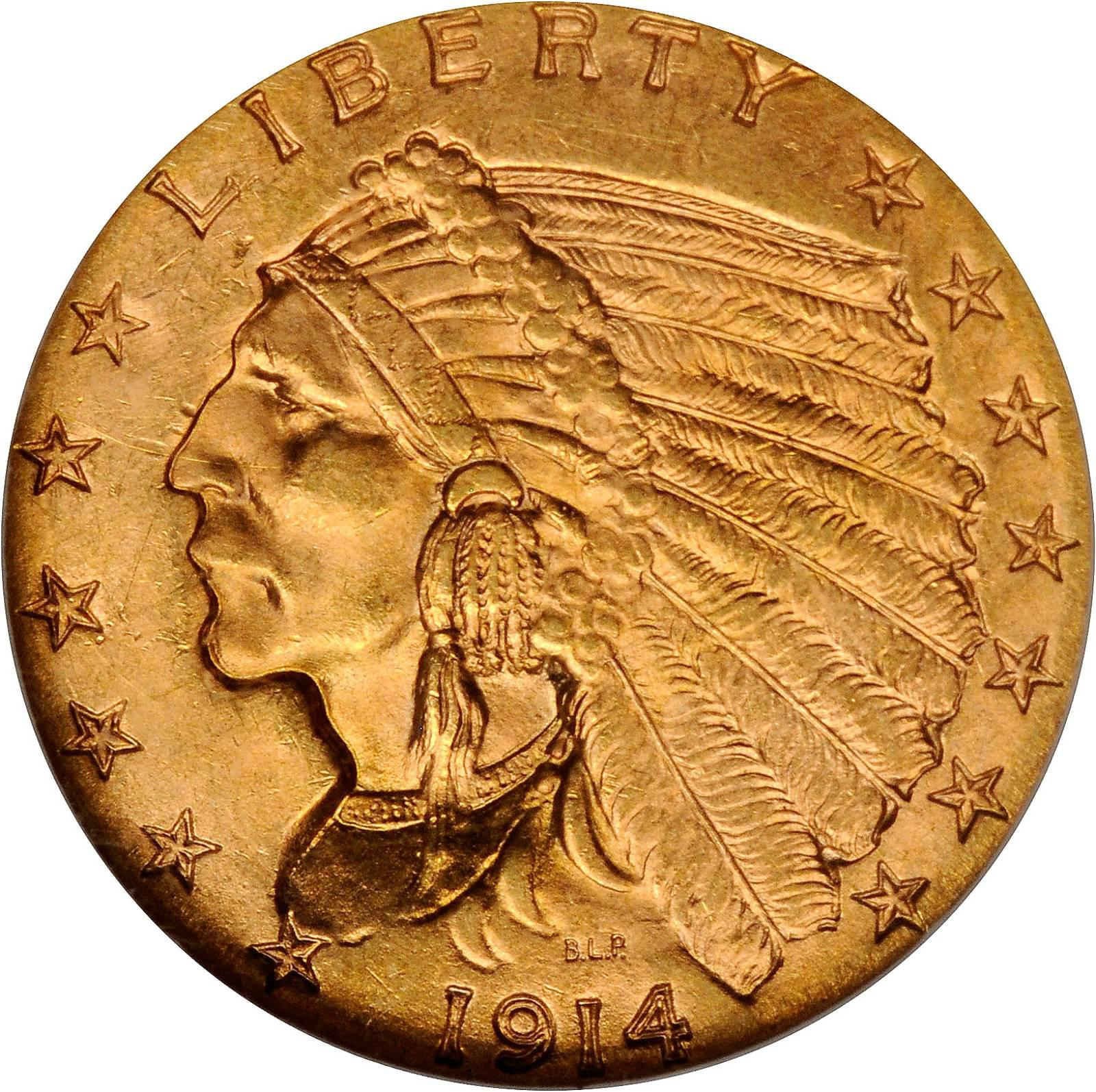 Value Of 1914 Indian Head 2 50 Gold Rare Coin Buyers