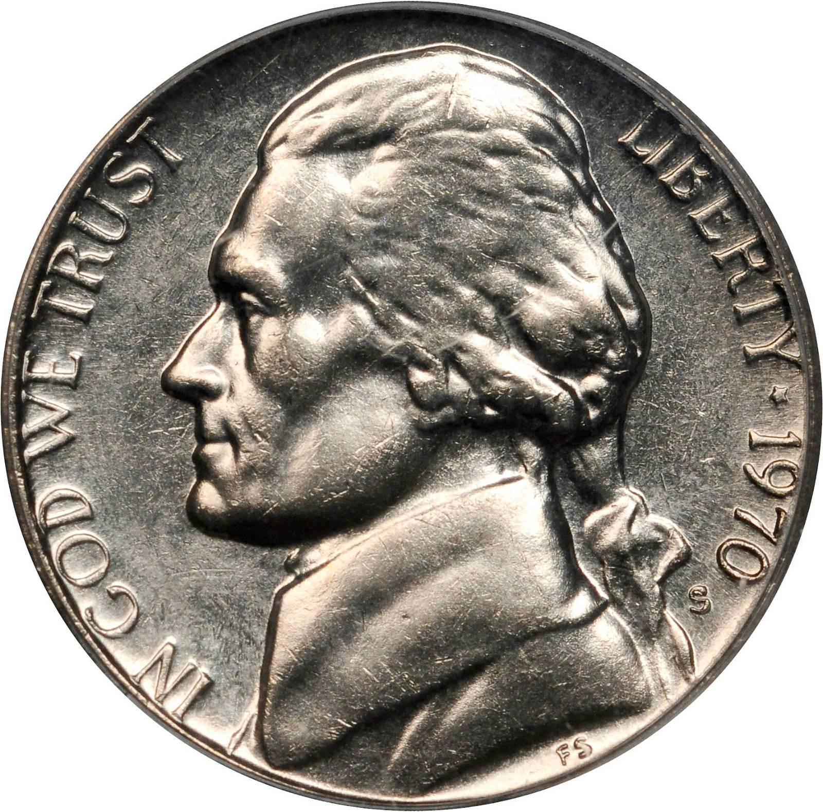 1970-S San Francisco Mint Jefferson 5 Cent Piece BU