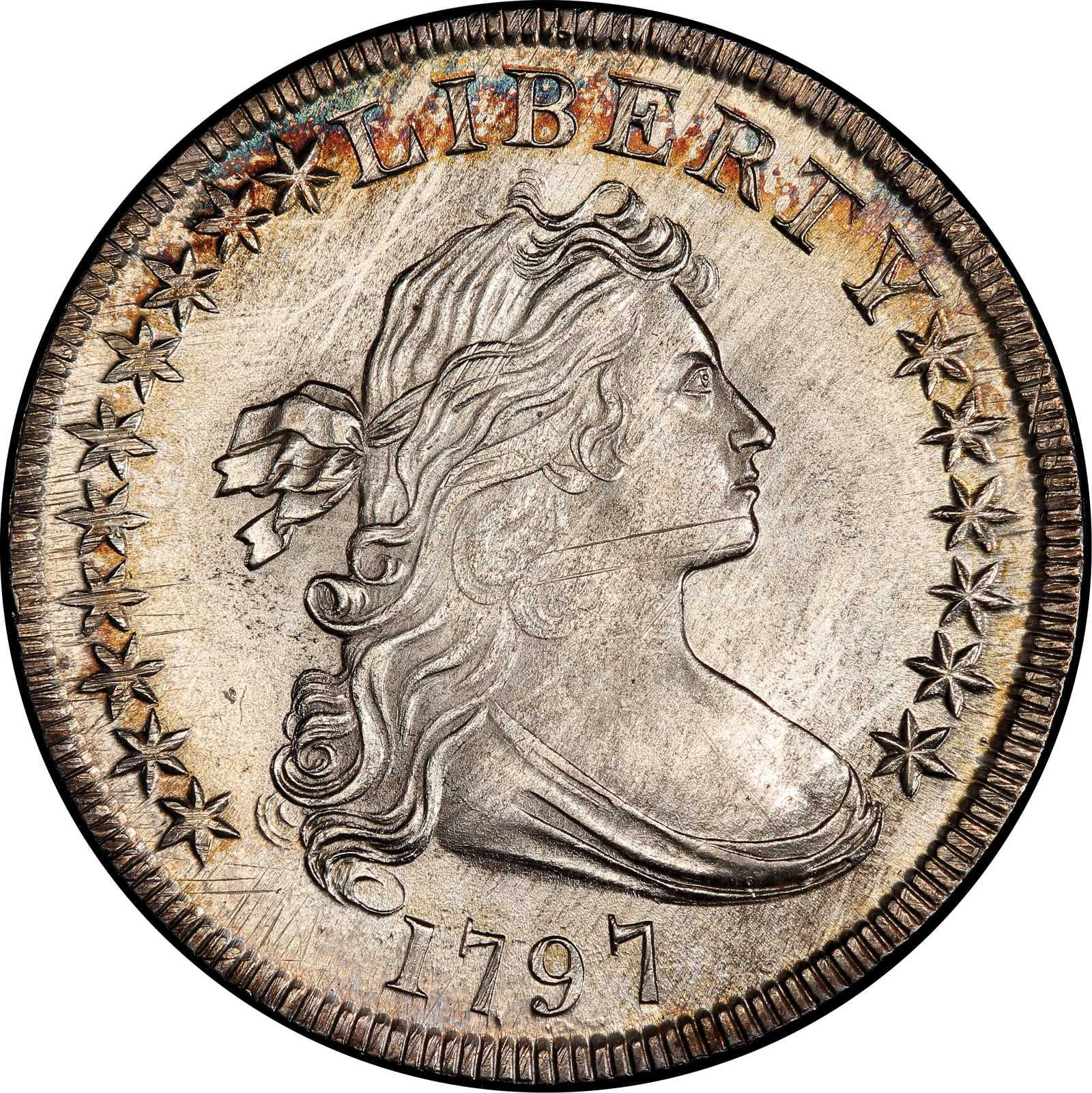 1797 BB-71 Stars 10×6, Large Letters Draped Bust Silver Dollar