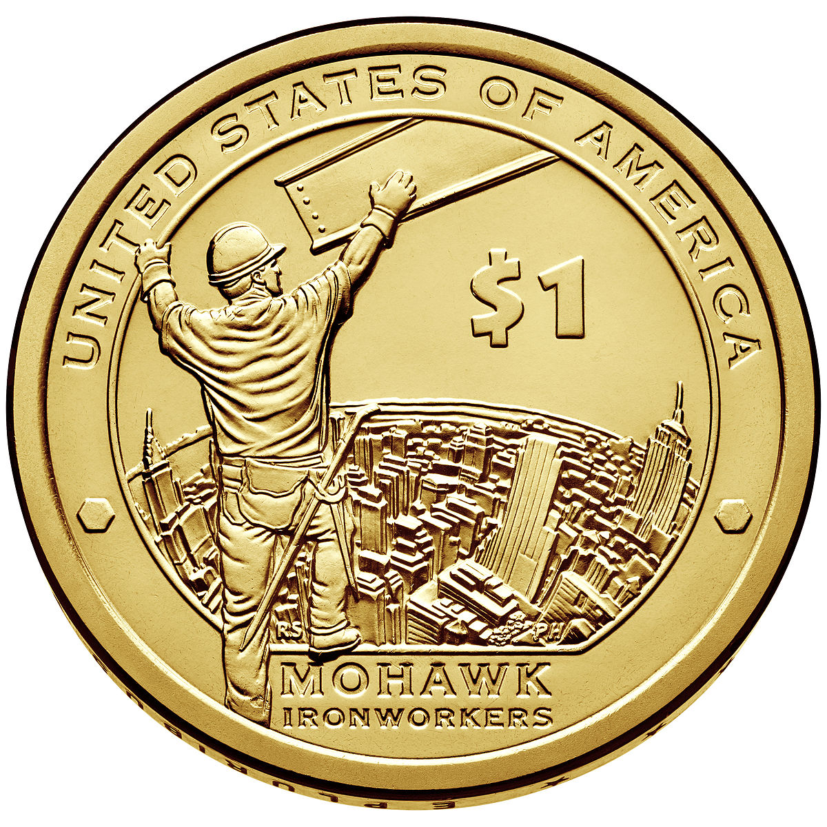 2015-W Mohawk Ironworkers American $1 Coin /& Currency Set BL9A