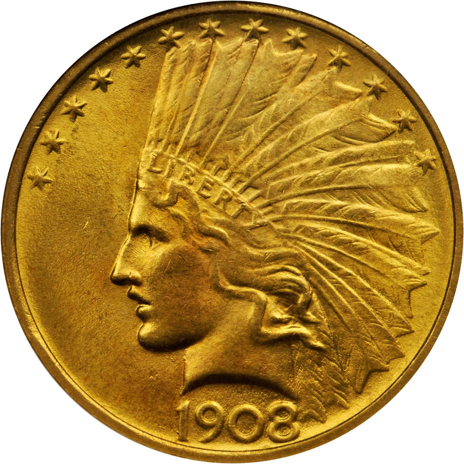 1908 No Motto Indian Head 10 Gold Sell Your Rare Coins