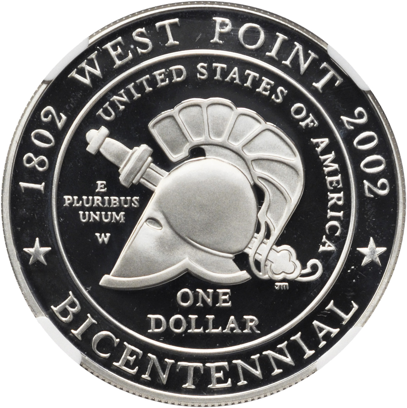 1 COIN 2002-W West Point Bicentennial Commemorative Silver Dollar PCGS MS69